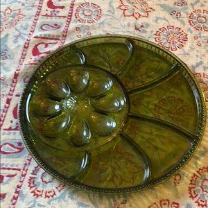 Vintage green glass deviled egg dish